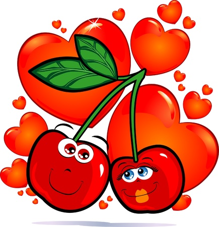 Cherries in love, vector image Vector