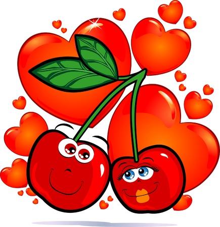 Cherries in love, vector image Stock Vector - 9483814