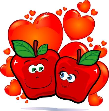 Apples in love, vector image Stock Vector - 9483817
