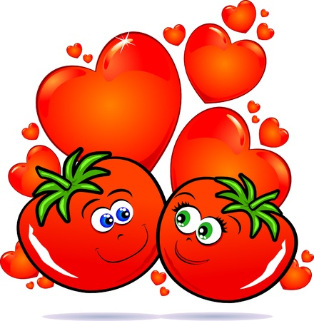 Tomatoes in love, vector image Stock Vector - 9483816