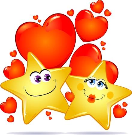 Stars in love, vector image Vector