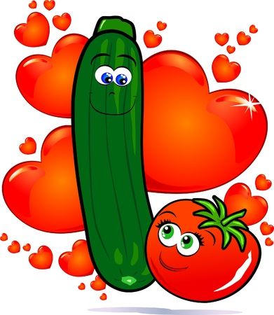 funny tomatoes: Verdure in amore, immagine vettoriale
