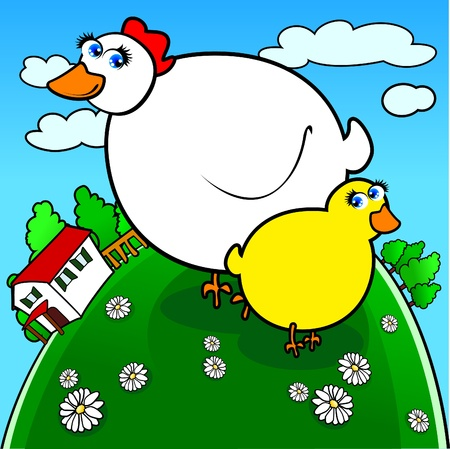 funny chicken with chick in the country Stock Vector - 9510639
