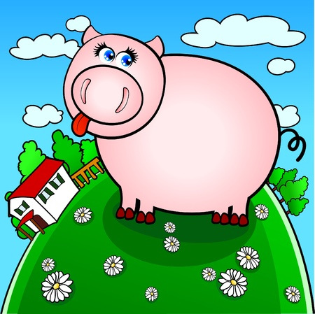 funny pig farm Vector