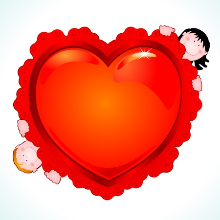Big hearth with funny children Stock Vector - 9530700