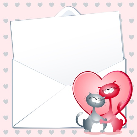 custom letters: Love letter with cats, vector