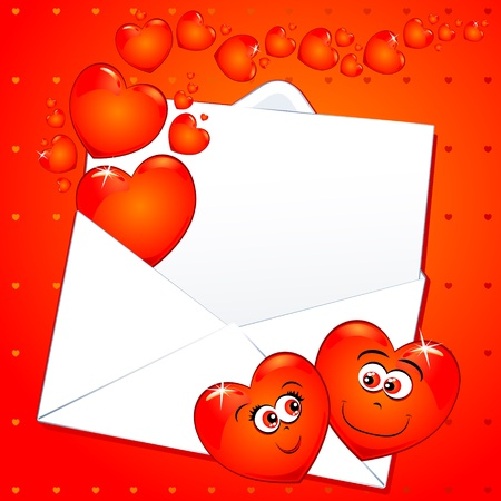 Love letter with funny hearts, vector Vector