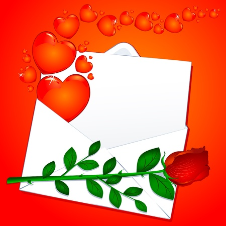 Love letter with red rose, vector Vector