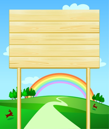 Wooden sign customizable on country landscape, vector Vector