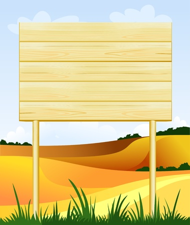 customizable: Wooden sign customizable on country landscape, vector