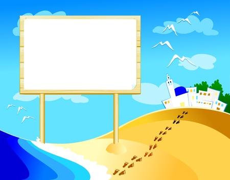 footprints sand: Customizable sign on the beach, vector