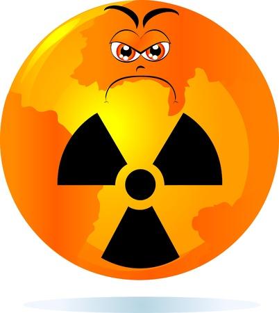 mundo contaminado: Mundo radiactivo, ilustraci�n vectorial Vectores