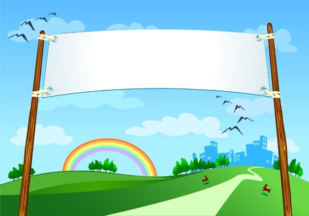 Banner on country landscape, vector