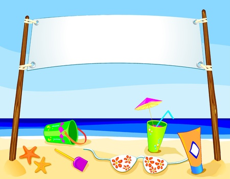 starfish beach: Banner on marine landscape, vector  Illustration