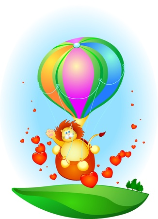 A cute lion traveling by balloon, vector Stock Vector - 9638678