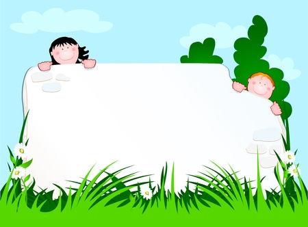 two children peering from behind a wall, vector Stock Vector - 9638676
