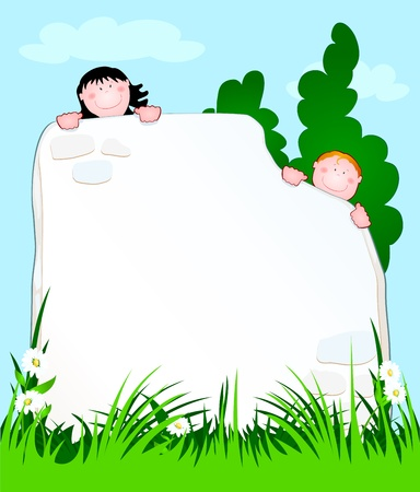 peering: two children peering from behind a wall, vector