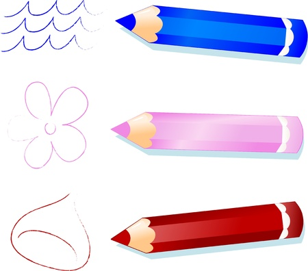 water chestnut: Blue, pink and brown pencils, vector image  Illustration