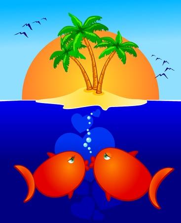 A nice pair of kissing fish, vector Vector