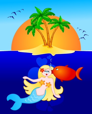 romantic getaway: Aquatic romance between a fish and a mermaid, vector