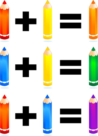 Primary and secondary colors, vector image  Illustration