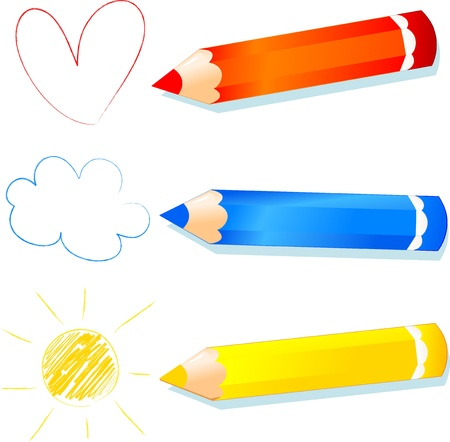 colour pencil: red, blue and yellow explained to children, vector Illustration