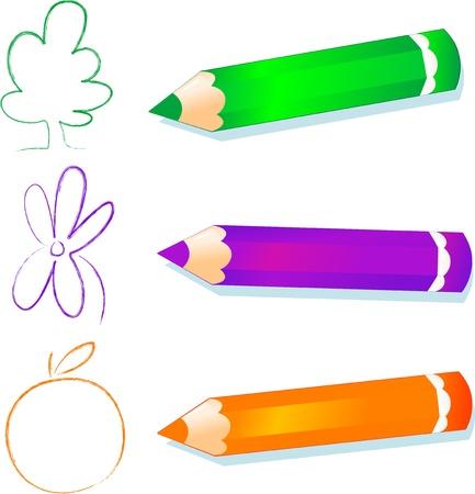 Green, purple and orange pencils, vector image