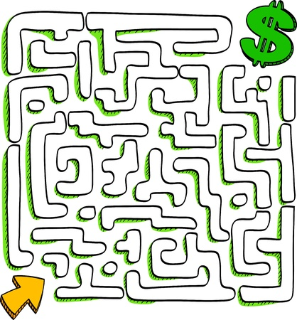 commitments: In the bottom of the maze there is wealth, vector illustration  Illustration