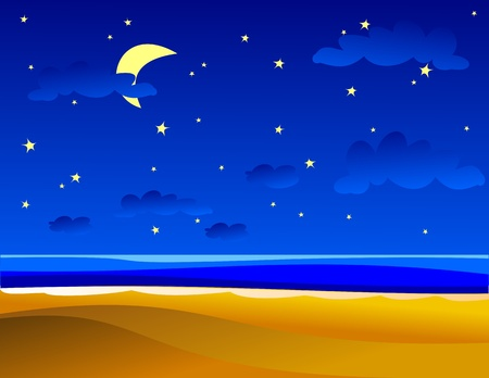 star and crescent: Paisaje marino nocturna, vector