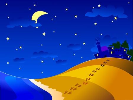 nocturnal: Nocturnal marine landscape, vector