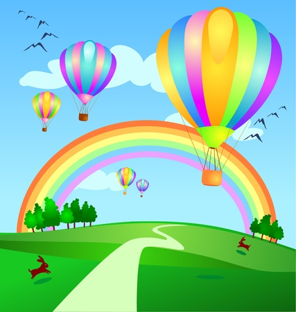 Balloons landing in the countryside, vector