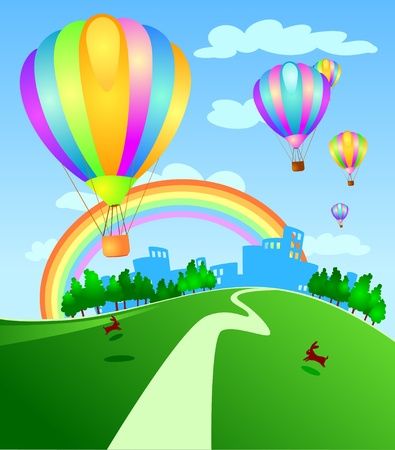 Balloons flying over the city, vector