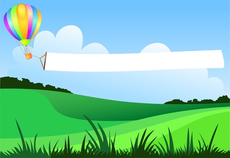 A balloon flies over the country by dragging a white banner, vector Stock Vector - 9707572