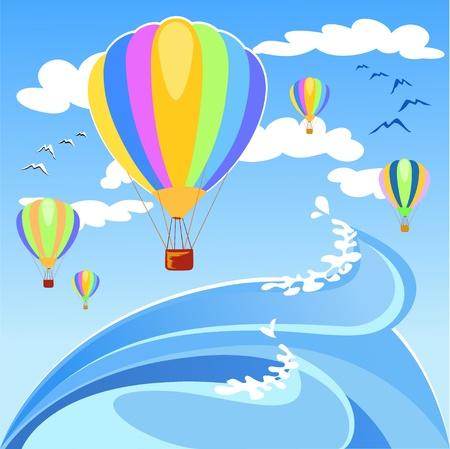 water bird: Balloons landing in the sea, vector