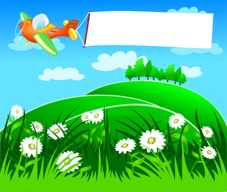 A plane flies dragging a white banner, vector