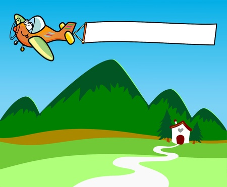 mountain holidays: Vector illustration depicting an airplane while dragging a white banner.