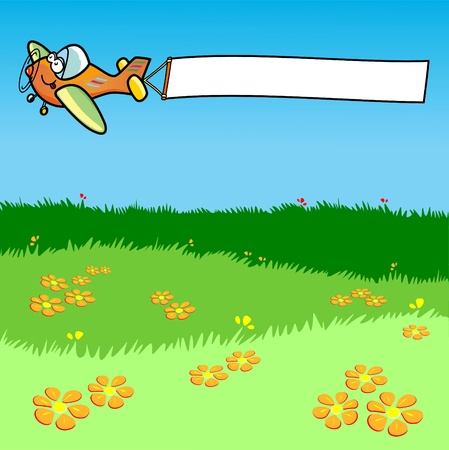 spring message: Vector illustration depicting an airplane while dragging a white banner.