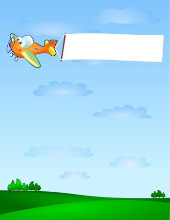 parker: A funny air cartoon-style drag in the sky a white banner customizable. Vector