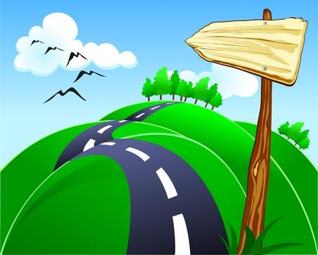 directions: Heuvelachtige weg met teken, vector Stock Illustratie