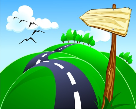Hilly road with sign, vector Illustration