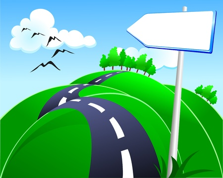 road travel: Hilly road with sign, vector Illustration