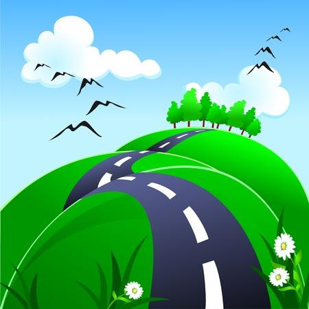 Heuvelachtige weg, vector Stockfoto - 9804812