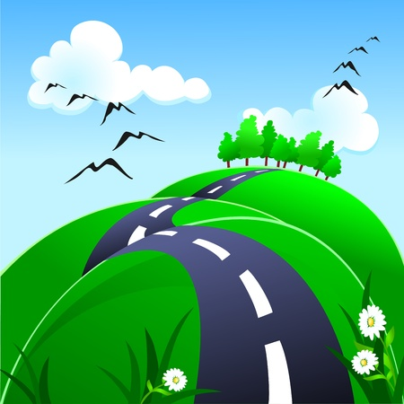 Hilly road, vector Vector