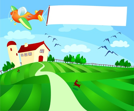 Country landscape with plane and banner, vector