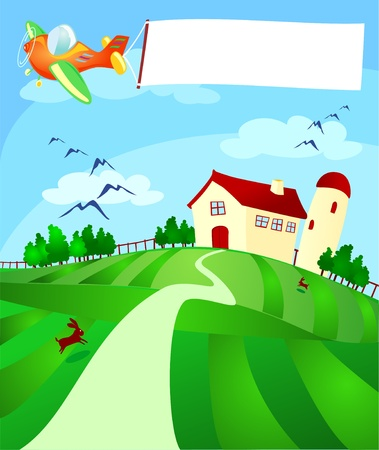 outside the house: Country landscape with plane and banner, vector