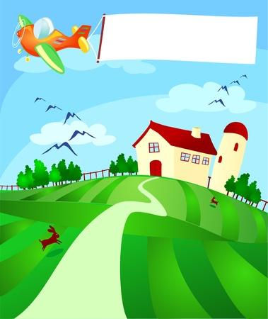 Land landschap met vliegtuig en banner, vector  Stockfoto - 9804807