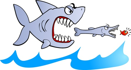 shark: Big fish eat small fish, vector  Illustration