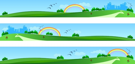 Vector banners with landscape, three version