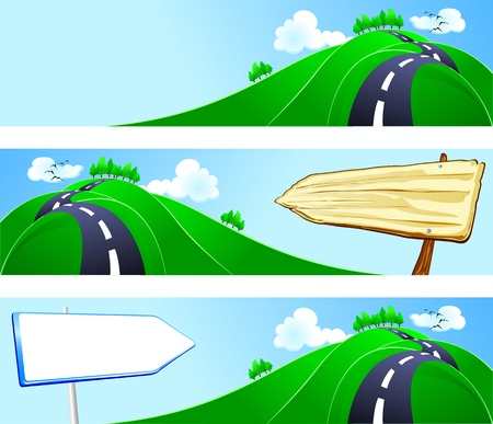 Series of banners with country landscape, vector  Vettoriali