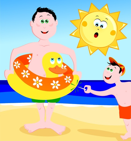 life jacket: A child blows up a life jacket of a bather, vector Illustration